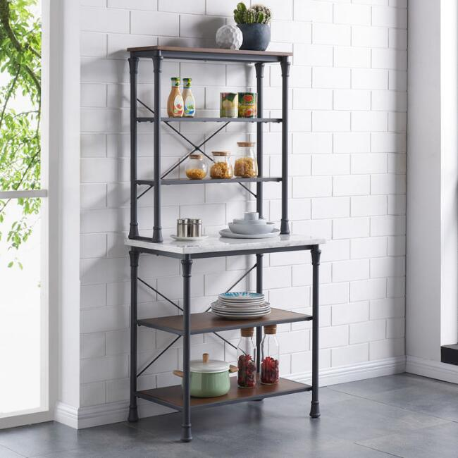 Gorgeous iron and marble baker's rack! The perfect addition to your kitchen or patio!