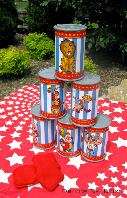 A carnival circus themed birthday party driven by decor for Bag decoration games