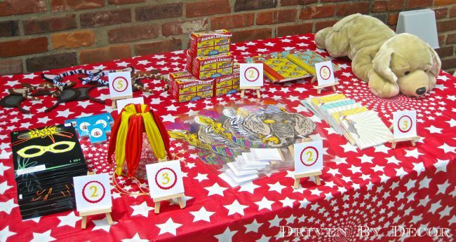 Prize table for carnival or circus birthday party