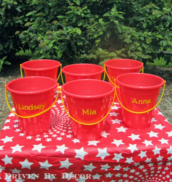 Sandpails used as treat buckets for carnival party