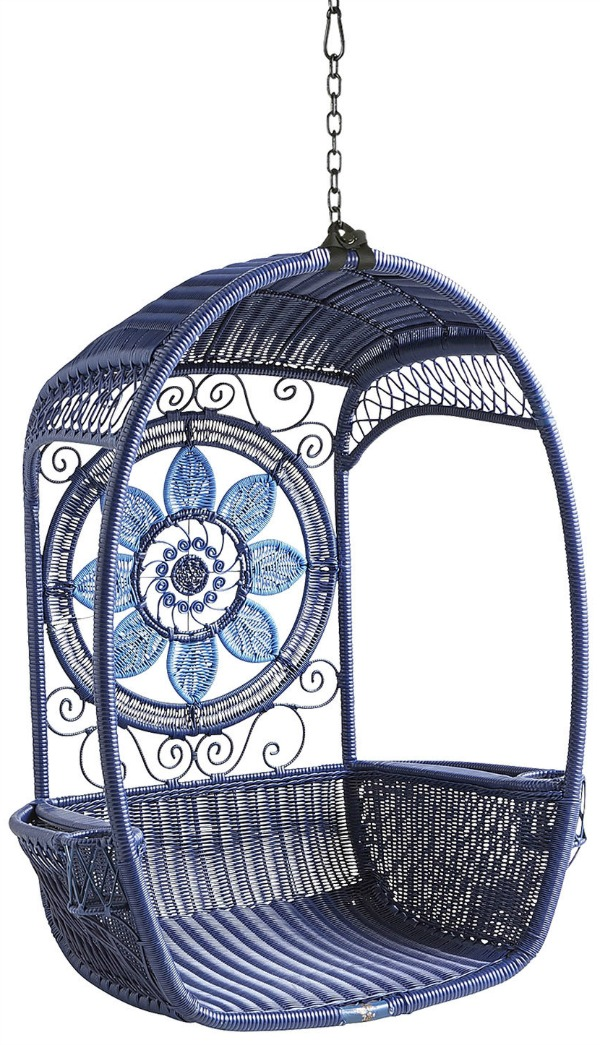Gorgeous blue hanging swing chair - perfect for a kid's bedroom, sunroom, or patio!