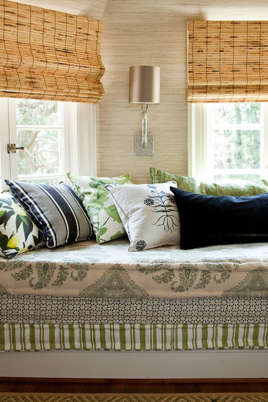 Gorgeous window seat with layered French mattress cushions