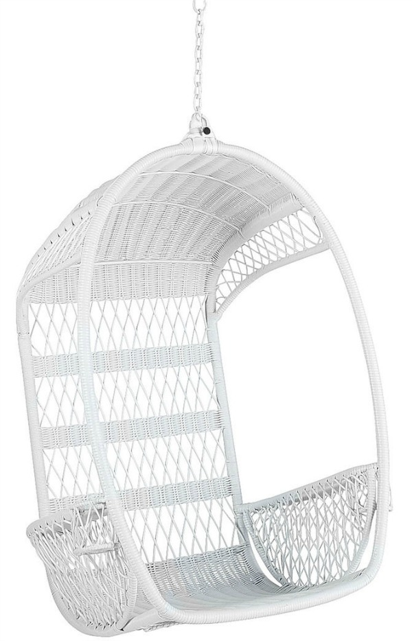 A great option for a white hanging rattan chair - so cute!