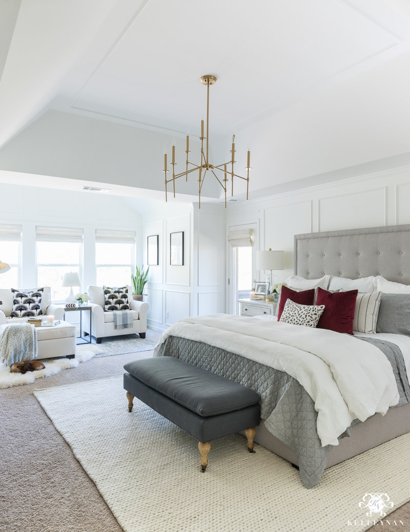 Master bedroom painted in Simply White - Kelley Nan