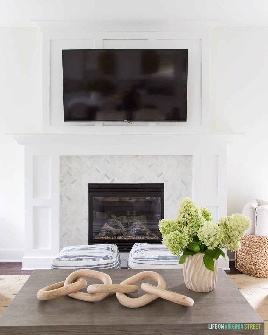 Gorgeous example of how you can hang a TV over the fireplace but still have a beautiful room!