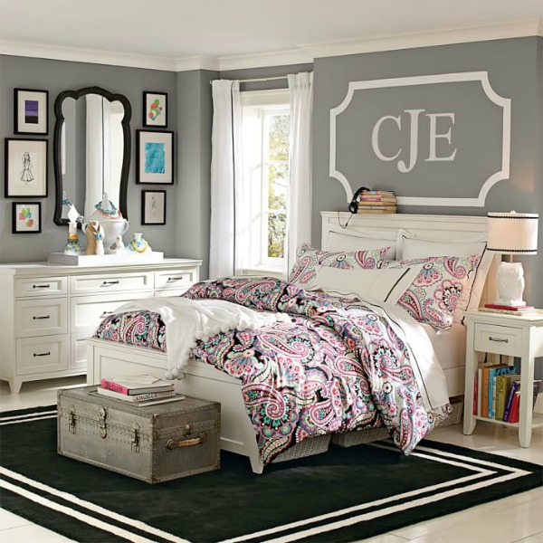 What should you put on the wall above your bed? A monogram decal is a fun choice!