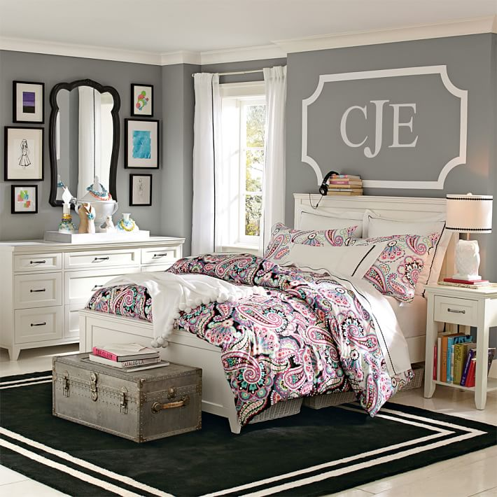 Such a cute idea to use monogram decals over a bed! One of the many ideas for above the bed decor in this post!