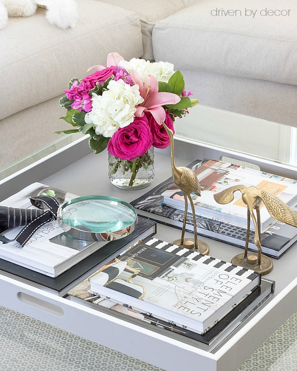 Decorative magnifying glass and other pretty coffee table accessories