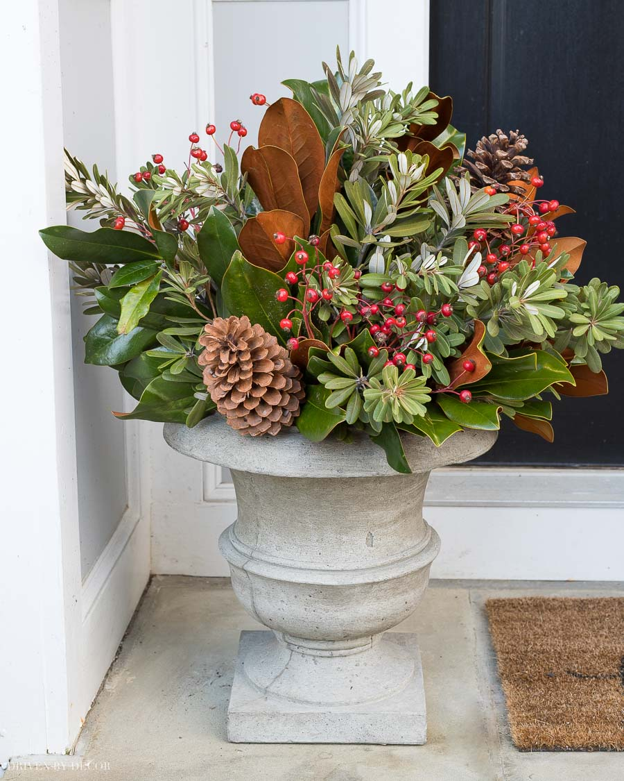 Our front door planters for Christmas! They're filled with magnolia branches, integrifolia, rose hips, and pinecones