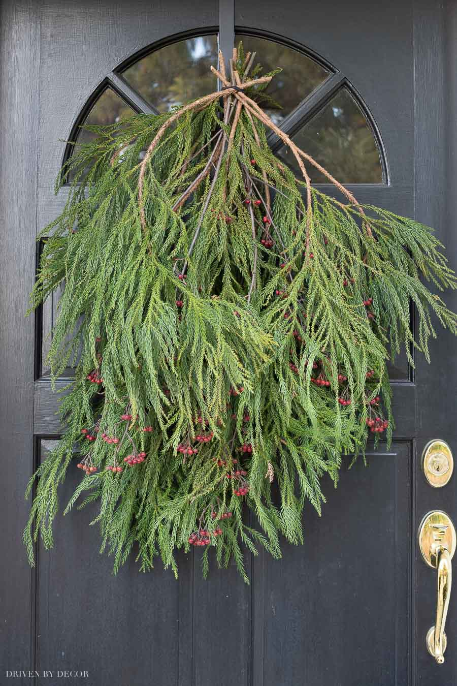 How to hang a Christmas door swag