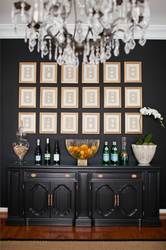 Black and charcoal gray paint colors for our home office - Satin paint on walls ...
