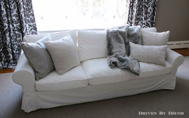 Chaise cushion on ektorp sofa with fur blanket