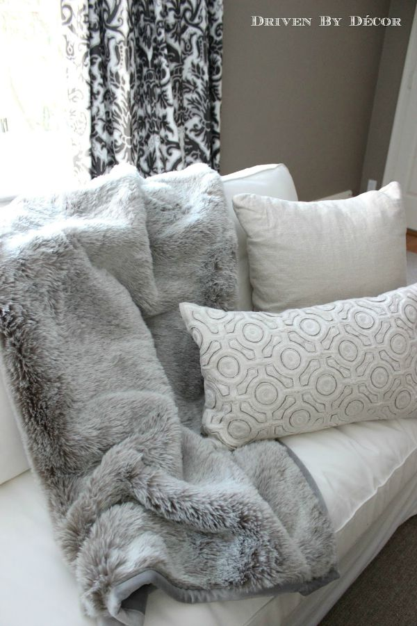 Fur blanket and pillows