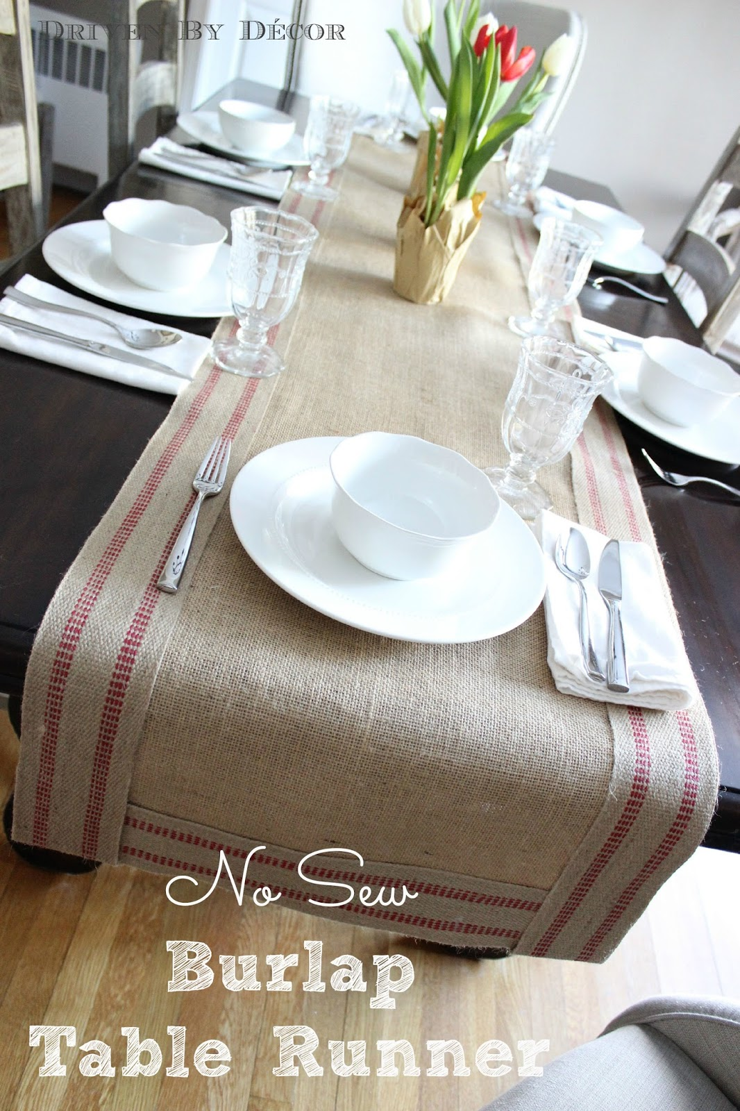 No Sew Burlap Amp Jute Table Runner Driven By Decor