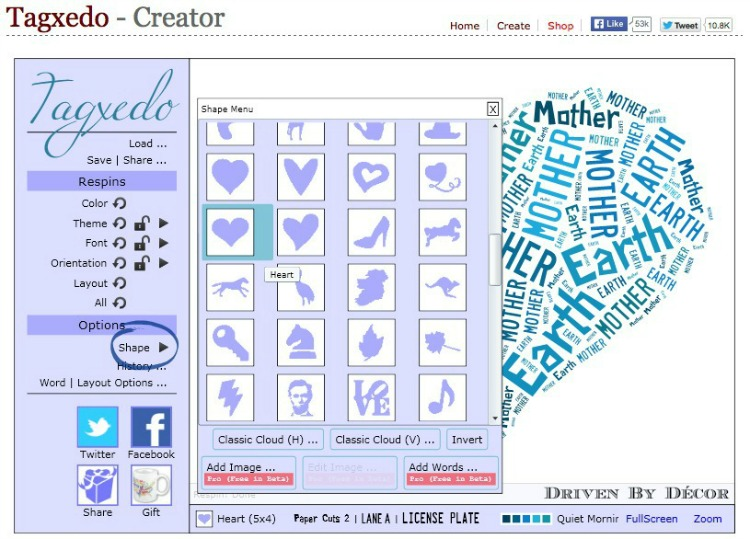 A step by step tutorial of using Tagxedo to create word cloud art!