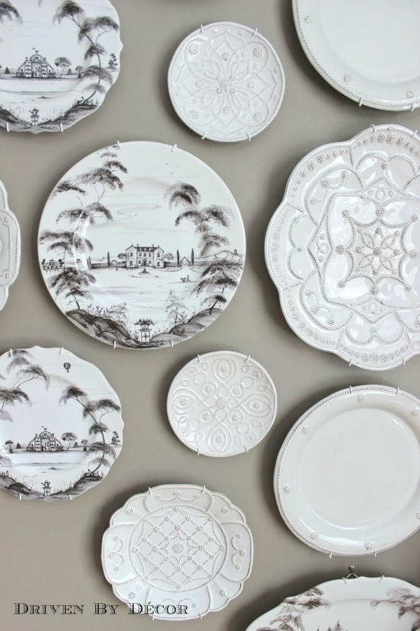 Close up of plates in collage on wall