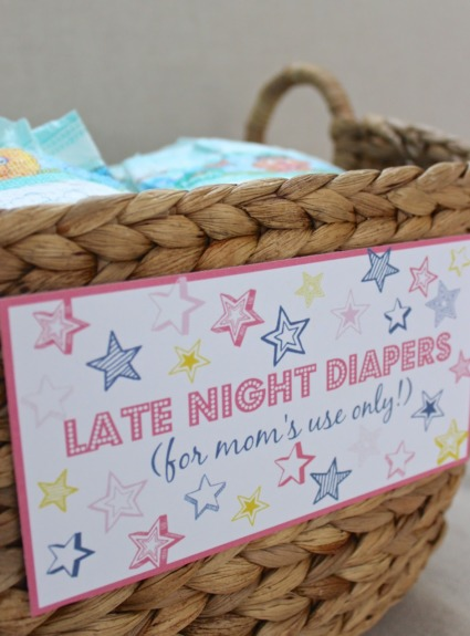 Late Night Diapers Baby Shower Printables