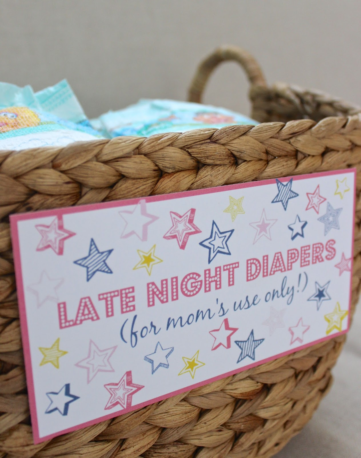 Late night diapers baby shower printables driven by decor for Baby shower diaper decoration game