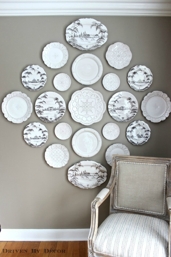 Our dining room plate wall - includes link to post about the best way to hang them!