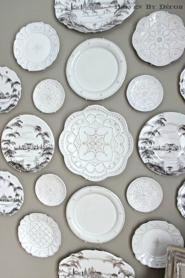 close up of plates on plate wall WM