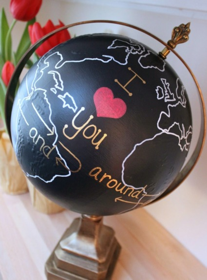 Upcycled Globe: I Love You Around the World and Back Again