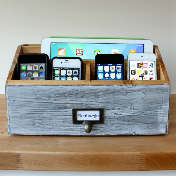 Letter sorter turned into a family charging station
