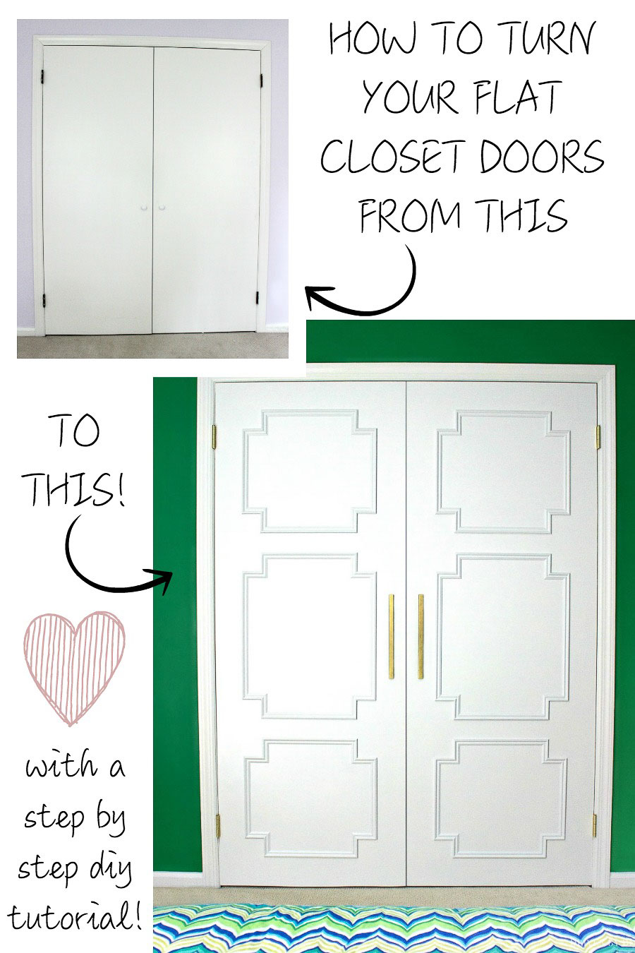 LOVE this flat panel door DIY makeover - such a huge difference!