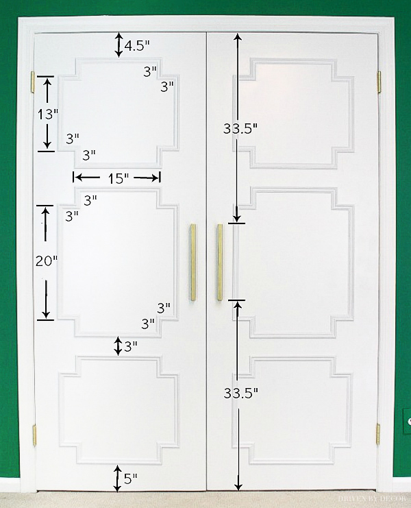 The measurements of the molding pieces added to our flat closet doors!