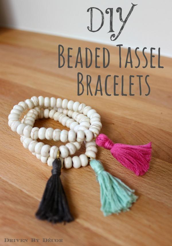 Simple DIY Beaded Tassel Bracelets