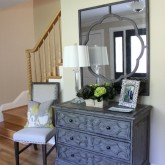 Beautiful chest of drawers and mirror for a small foyer