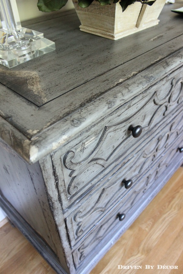 Beautiful gray distressed wood cheest of drawers