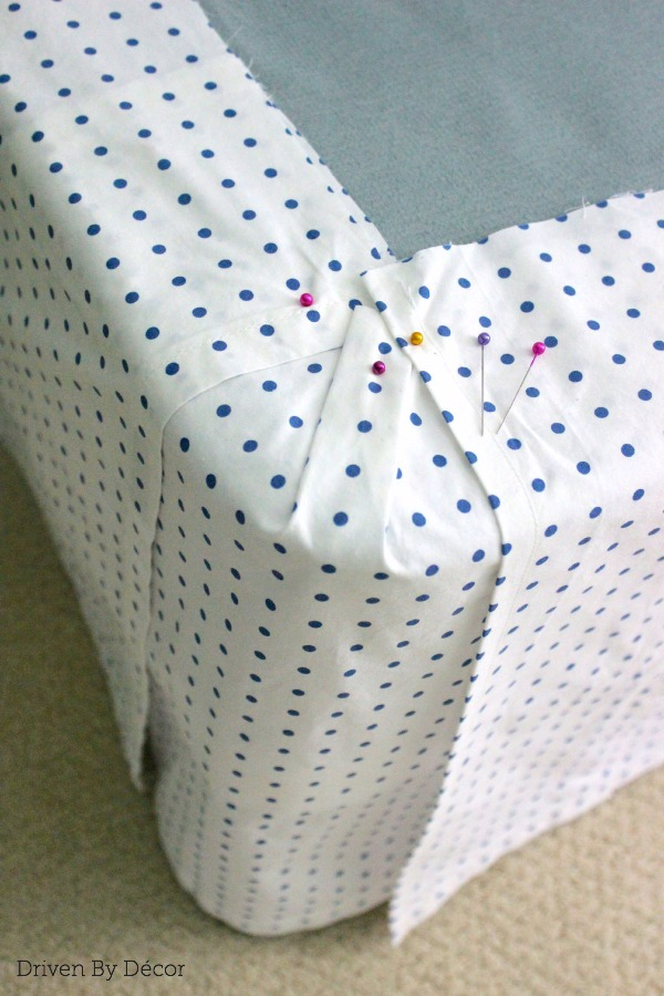 how to sew corners on a bed skirt 1