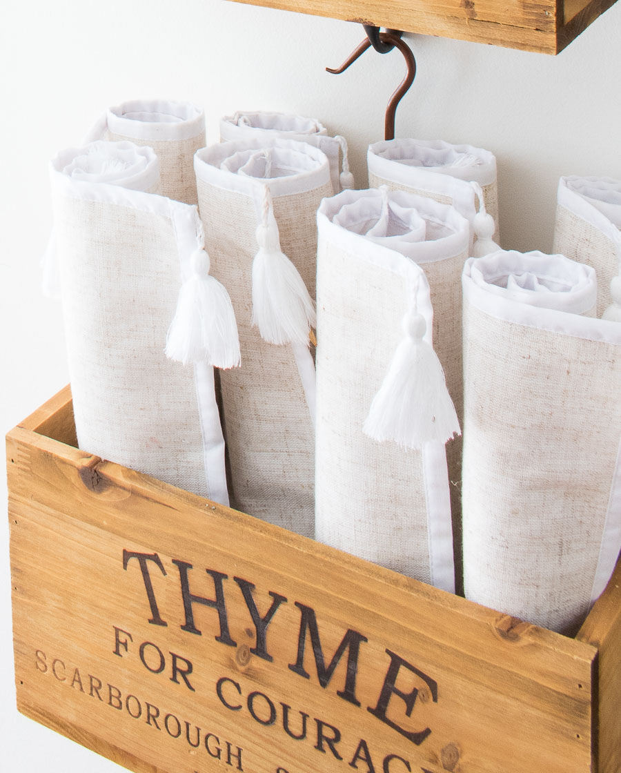 "This ""Thyme"" wooden herb crate is perfect for holding rolled up placemats near our kitchen table!"