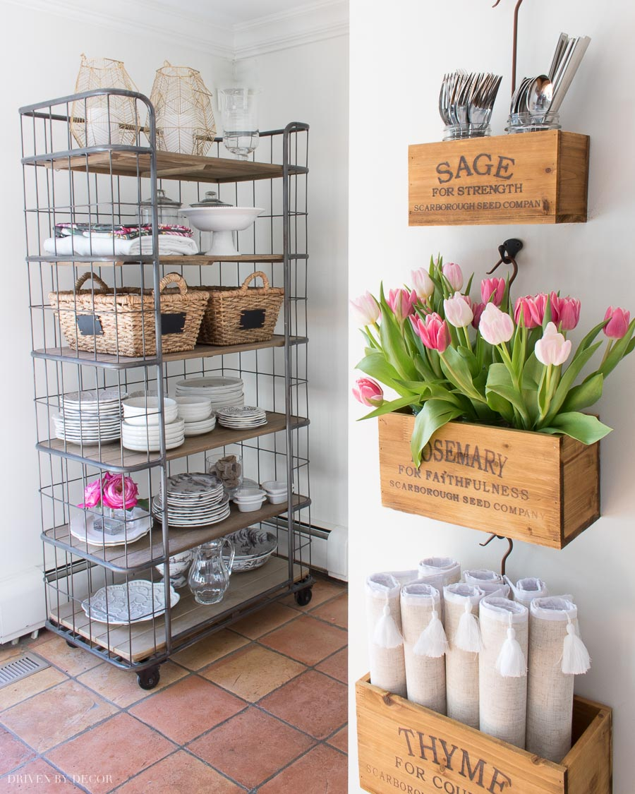Love our new hanging wooden herb boxes so much! The perfect farmhouse chic find for our kitchen!