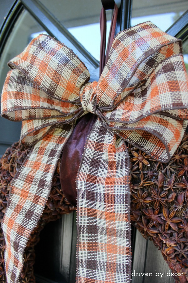 Fall wired plaid ribbon bow