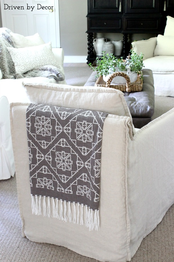 Nate Berkus San Lucia fabric draped over chair back