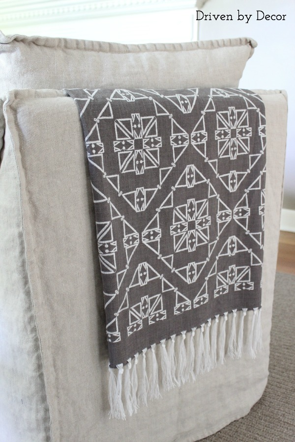 Fabric with added fringe draped over chair back