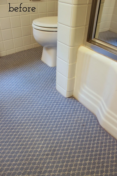 One room challenge week 1 bathroom remodel driven by for Bathroom carpet ideas