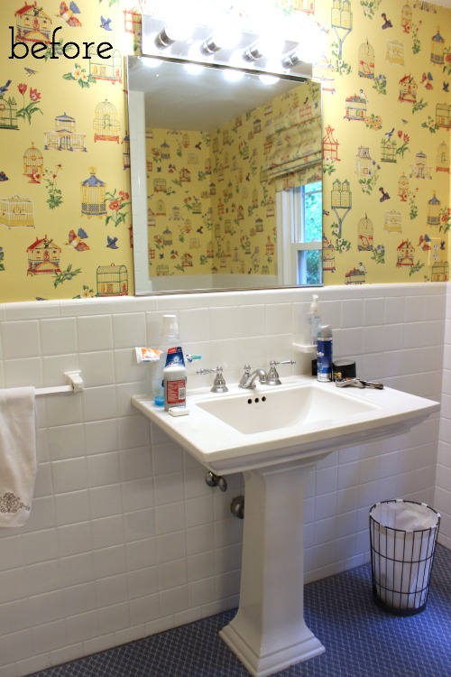 Before pic of mirror, sink, and lights