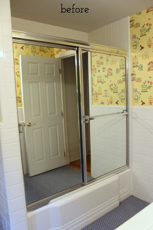 Before pic of mirrored tub doors