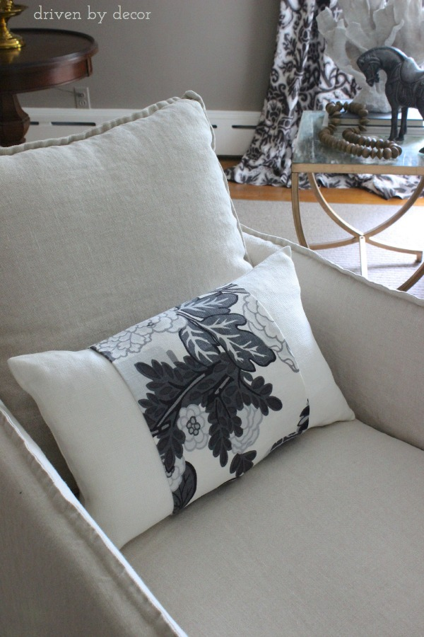Driven by Decor - Barn & Willow Linen Oyster Lumbar with Schumacher Accent