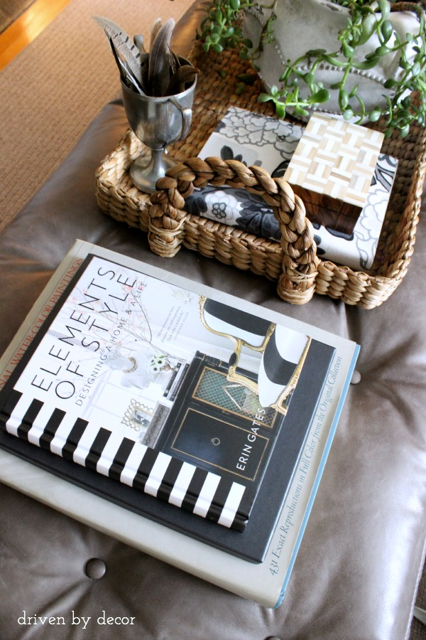 Driven by Decor -- Leather coffee table books and tray