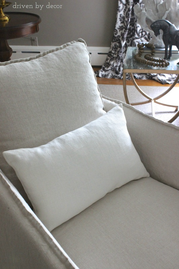 Driven by Decor - Oyster lumbar Belgian linen pillow