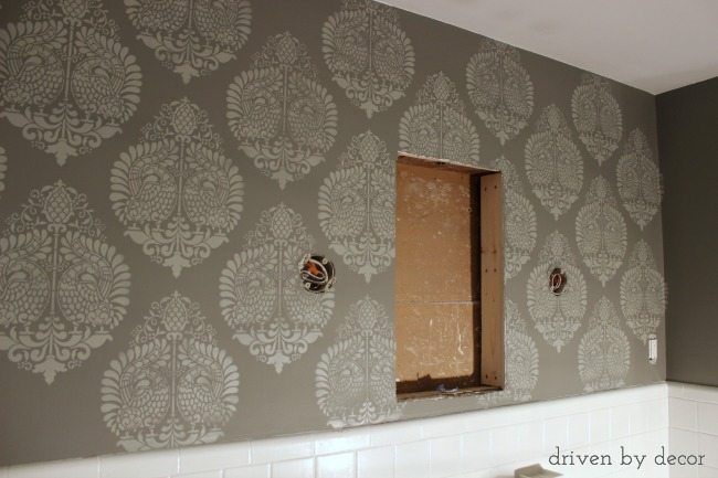 Driven by Decor - Stenciled bathroom wall