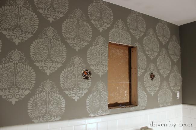 Driven by Decor - Stenciled bathroom wall
