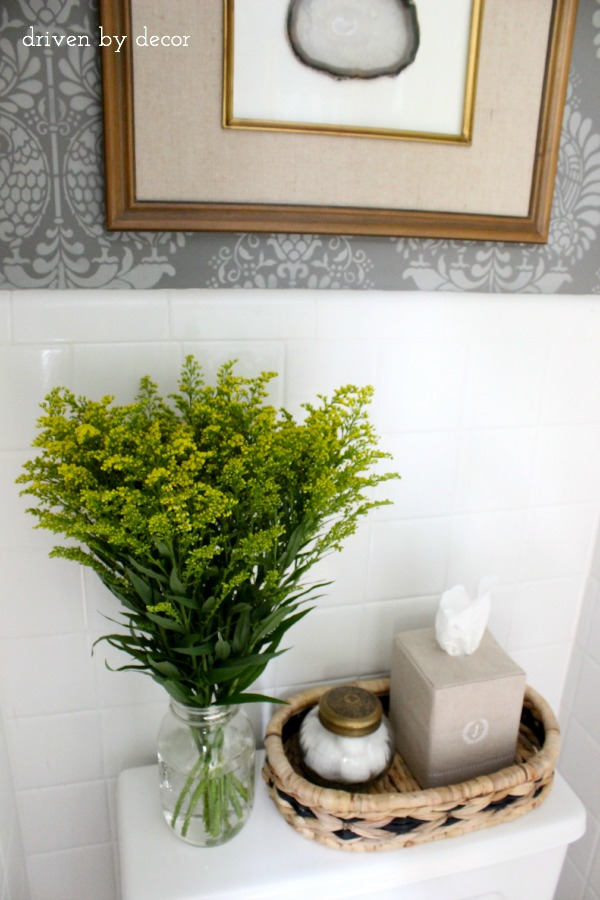 Our stenciled bathroom budget makeover reveal driven by decor - Decoration toilette ...