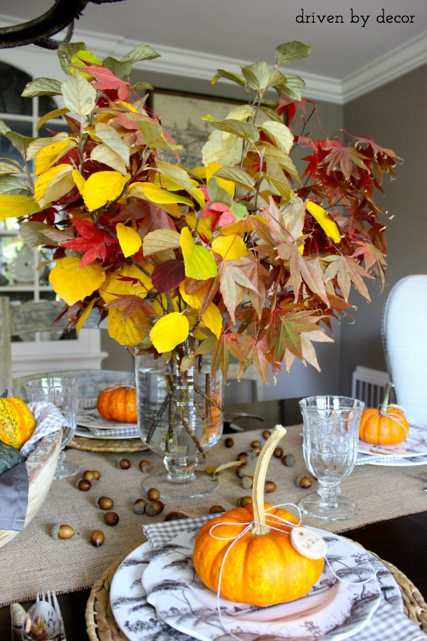 Driven by Decor - Fall branches as part of Thanksgiving centerpiece