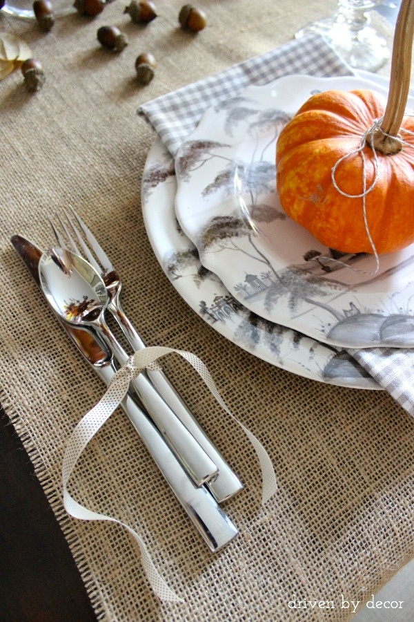 Driven by Decor - Simple Thanksgiving table - silverware tied with ribbon