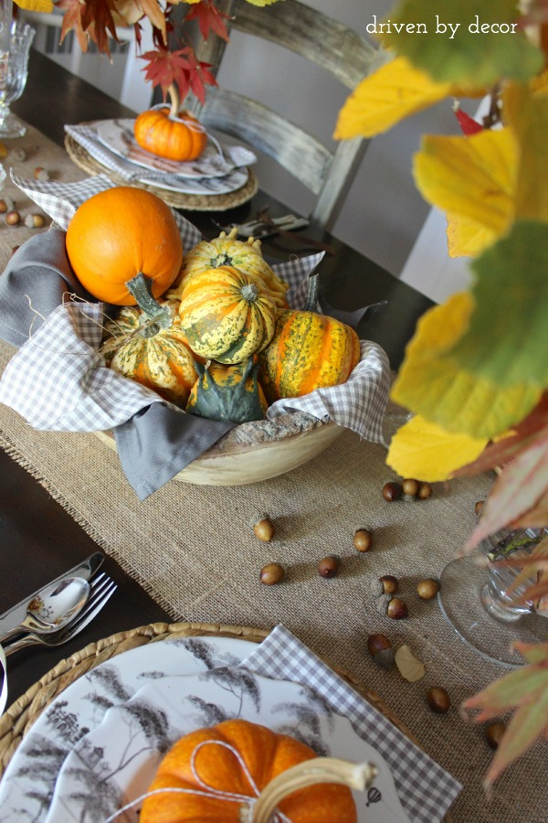 Driven by Decor - Simple thanksgiving centerpiece with pumpkins and gourds
