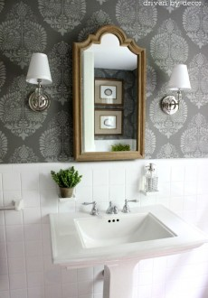 Our Stenciled Bathroom Budget Makeover Reveal!